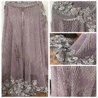 HFX High Quality Lilac Dress Lace Applique French Embroidery Tulle Net Lace Fabric Heavy Handmade Beaded Lace Fabric X889 4