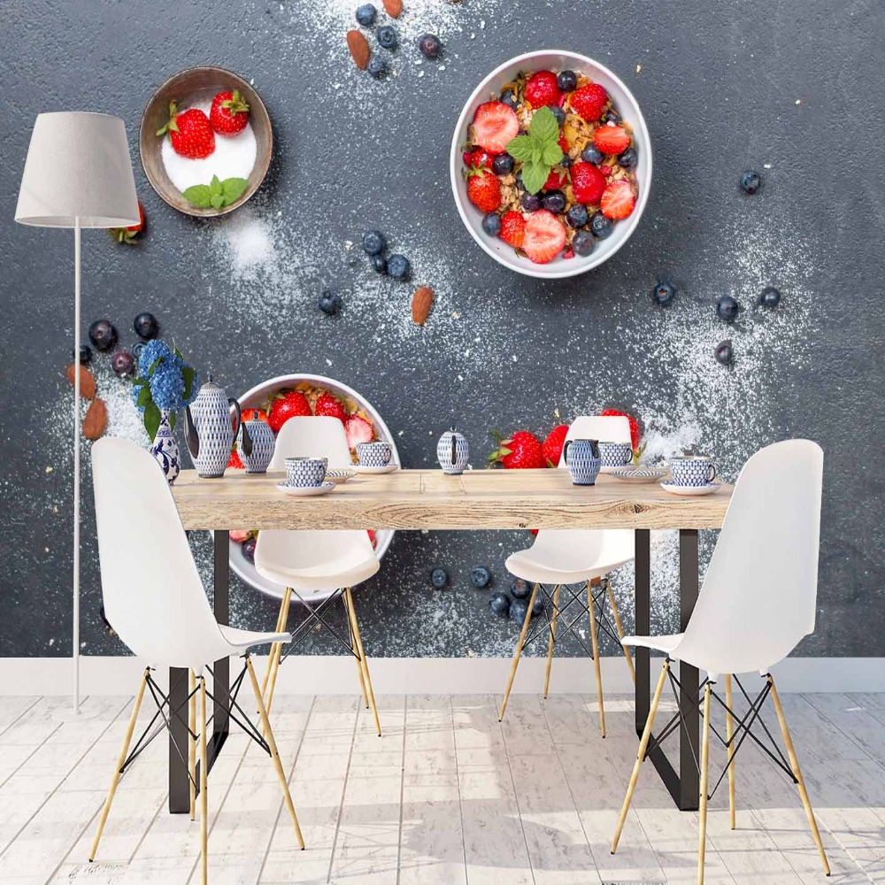 Else Gray Floor Red Strawberry White Powder Sugar 3d Print Photo Cleanable Fabric Mural Home Decor Kitchen Background Wallpaper