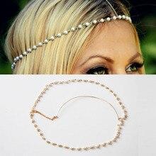 zheFanku Bohemian Metal 4mm Imitation Pearl Elasticity Bands Head Chain Jewelry Forehead Headband Hair Accessories Headpiece