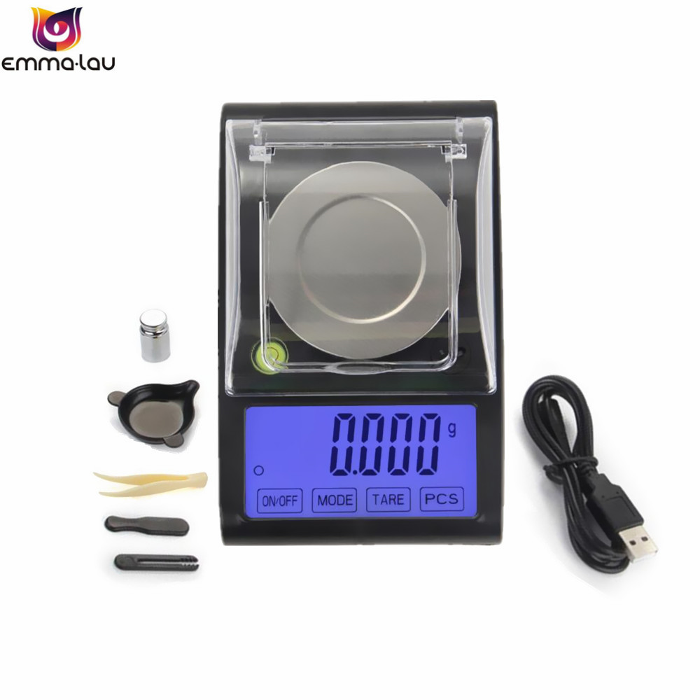 50g/0.001g Electronic Scales LCD Digital Scale 0.001g Stainless Weighing Pan Jewelry Medicinal Mini Lab Weight Milligram Scale