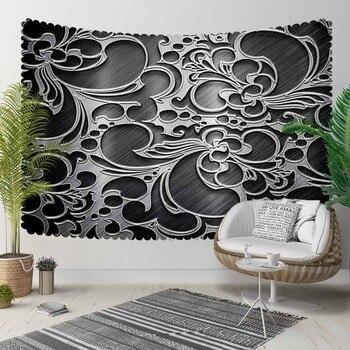 Autre noir blanc authentique Ottoman turc abstrait 3D imprimer décoratif Hippi bohème tenture murale paysage tapisserie mur Art|Tapisseries décoratives| |  -