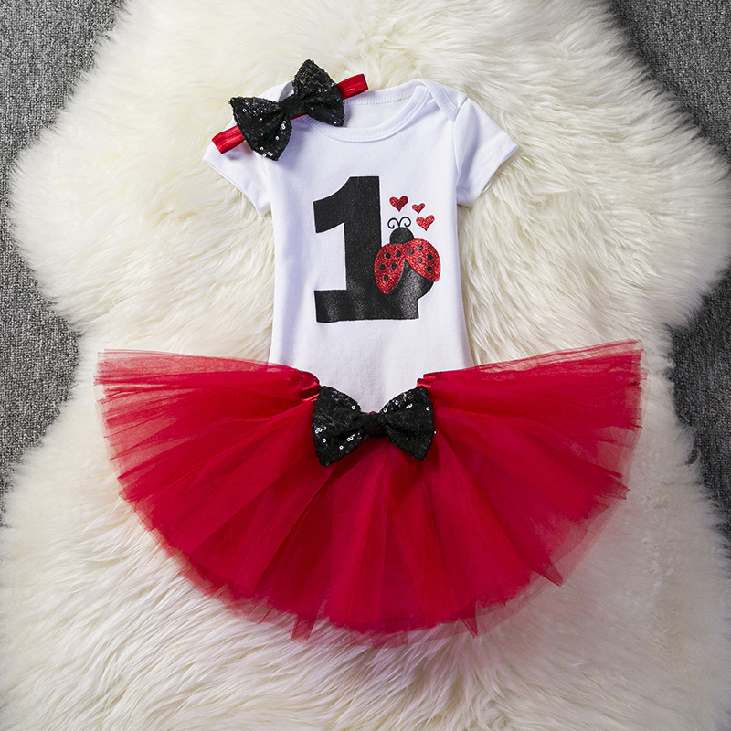 Newborn Baby Kids Girls Clothes 3 Pcs Sets First 1st Birthday Outfits Tutu Girl Dress Suits Little Baby Print Digital Clothing newborn baby girl clothes sets cute 1st birthday party baby clothing suits cotton toddler baby lace bodysuit tutu skirt outfits
