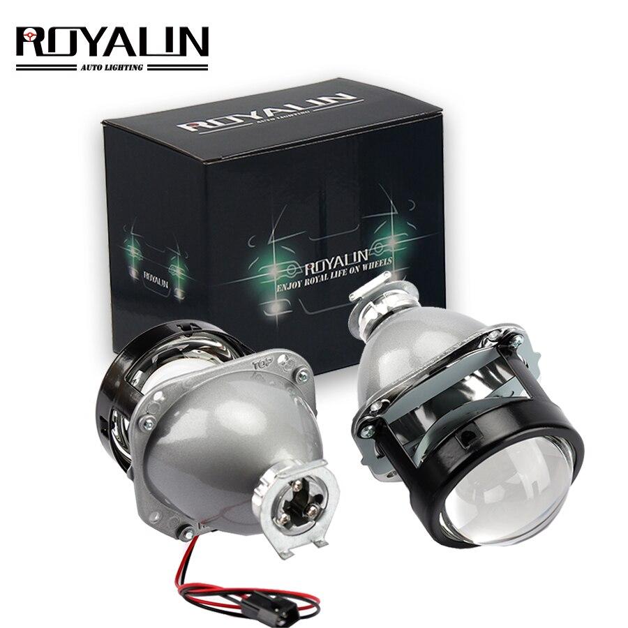 ROYALIN voiture style lentille halogène plein métal H1 Mini HID Bi xénon phare projecteur lentille 2.5 H4 H7 Auto Mini Gatling pistolet masques
