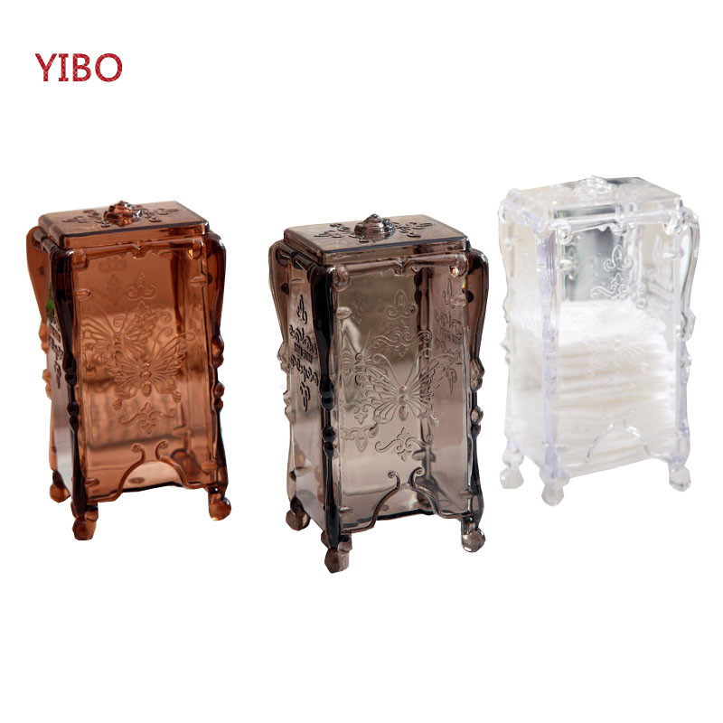 YIBO Retro Butterfly Storage Box Cosmetic Cotton Powder Pad Makeup Jewelry Box Storage Box Office Desktop Decoration Box