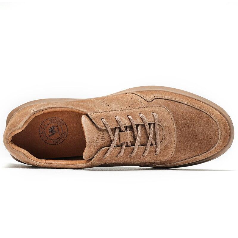 CHAMEAU Printemps D'été Texturé En Cuir Hommes Chaussures à lacets Homme En Plein Air chaussures décontractées Épais Fond de Point De Non-slip Marée chaussures hommes - 3