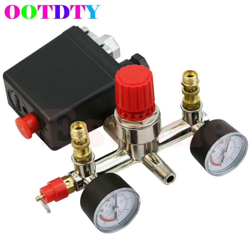 Heavy Duty Valve Gauges Regulator Air Compressor Pump Pressure Control Switch APR8_25 120psi air compressor pressure valve switch manifold relief regulator gauges