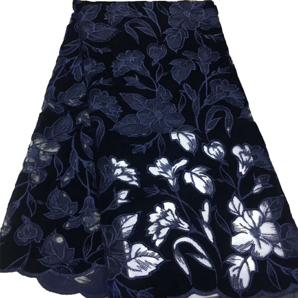 Latest African French Velvet Tulle Lace Navy Blue Embroidered Net Lace Bridal Dress Lace Fabric For Nigerian Wedding X640 5
