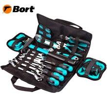 Набор ручного инструмента Bort BTK-45 (Набор из 45 предметов, выполненных и высококачественной стали в удобной сумке. Ключи гаечные, отвертки, молоток, плоскогубцы)