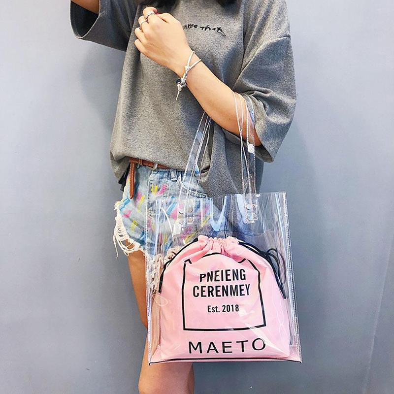 9b9ff5e42b0c US $8.55 45% OFF|New 2019 Women Luxury Brand Clear PVC Handbag Jelly  Transparent Plastic Summer Letter Beach Shoulder Bag Tote Shopping Bags-in  ...