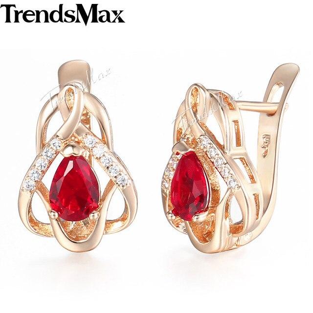 Hear Love Red Cz Cubic Zirconia Earrings For Women S 585 Rose Gold Wedding 2018