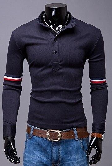 New men's fashion long sleeve   polo   shirt