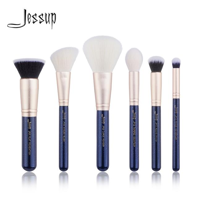 Jessup 6PCS Prussian Blue / Golden Sands Makeup brushes set LARGE POWDER FOUNDATION CONCEALER for face Make up brush 1