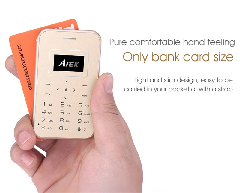 Luxury Card Phone Super Mini Cell Phone With MP3 Bluetooth 1 67 inch