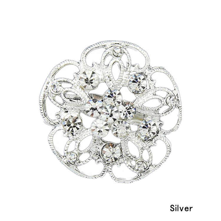 Fashion Basic Delicate Crystal Brooches Silver Plated Flower Collar Pin Brooch Pin Gift Drop Shipping