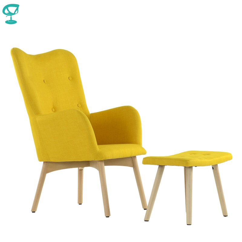 K101WdFbYellow Barneo K-101 Fabric Interior Lounge Chair With Ottoman Wood Legs Yellow Room Furniture Free Shipping In Russia