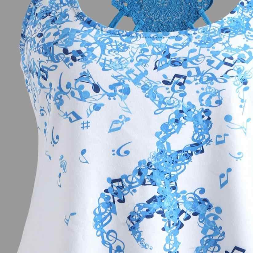 Nieuwe Zomer Vrouwen cropped feminino blusas Top Bandages Mouwloos Vest Muzikale gothic Print Gladiatorschoen streetwear vadim dropship # TW