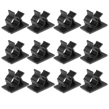 Uxcell Black 12pcs Suitable for Wire Dia. 7.9mm-10.3 mm Self Adhesive Adjustable Cable Tie Sticker Clip Space Efficient