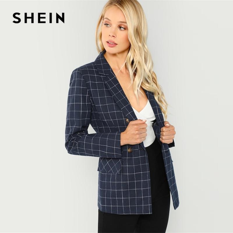 Shein Navy Cotton Office Lady Elegant Notched Neck Plaid Double Breasted Blazer Women Pocket Autumn Minimalist Coat Outerwear #4