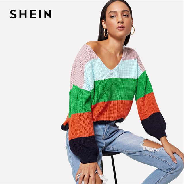 cba2911d56 SHEIN Multicolor Drop Shoulder Cut and Sew Jumper Preppy Colorblock V Neck  Bishop Sleeve PulloversSweater Women