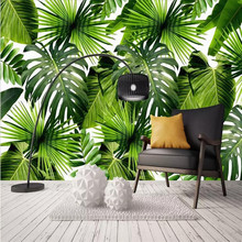 Modern minimalist fresh rainforest plant banana leaf garden mural background wall manufacturers wholesale wallpaper custom