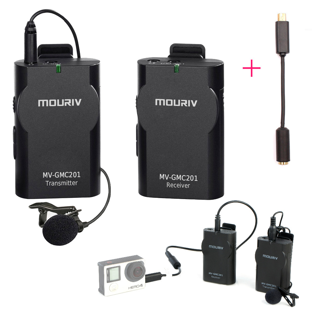 MV-GMC201 Wireless Lavalier Microphone System For Go Pro Gopro Hero 3, 3+ ,4 ,for IPhone 6, 7 Android,free Mini Usb Adapter