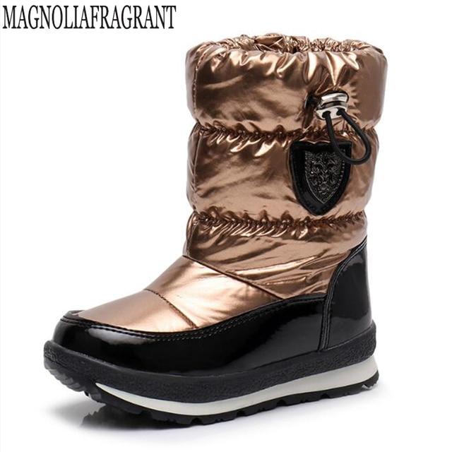 Botas para niños para niñas, botas de nieve a la moda, botas deportivas impermeables, calzado antideslizante para niños, botas planas mm191
