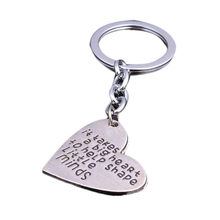 Fashion New It Takes A Big Heart To Help Shape Little Minds Silver Plated Pendant Tag Keychain Gift For Teachers(China)