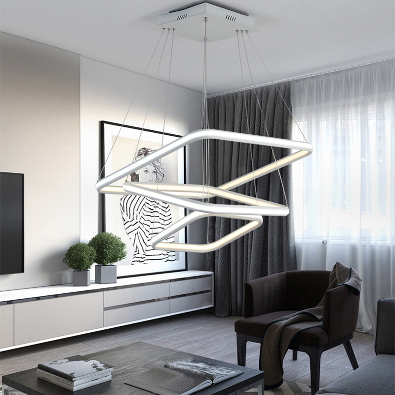 Inside and outside glow Chandelier Lighting Modern Led For Dining Room Acrylic luminaire light Fixtures lustre de plafond noosion modern led ceiling lamp for bedroom room black and white color with crystal plafon techo iluminacion lustre de plafond