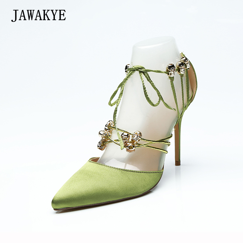 JAWAKYE Green Stain lace up High heels Women Pumps Sexy Cut outs stiletto Extreme high heels Shoes Pointed toe ladies shoes women pumps sexy office lady shoes extreme high heels stiletto suede shoes women heels fashion pointed toe pumps ladies shoes