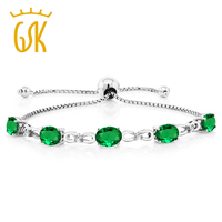 5 00 Ct Simulated Emerald Diamond 925 Sterling Silver Adjustable Tennis Bracelet
