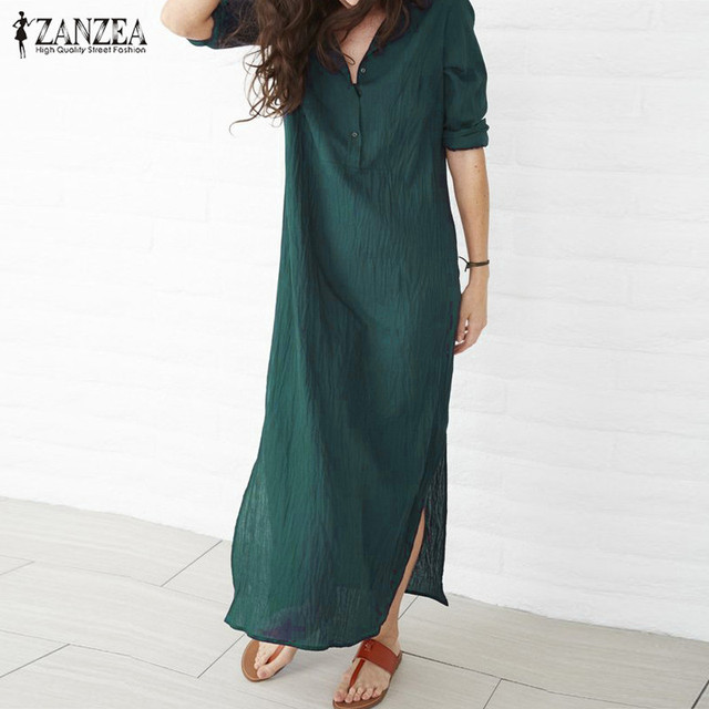 ZANZEA Women Dress 2018 Autumn Casual Loose Maxi Long Party Dresses Sexy Thin V Neck Long Sleeve Split Cotton Vestidos Plus Size