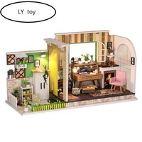 LY Toy Diy Hut Gothenburg Studio Hand Made House Model Toy miniature dollhouse L.o.l surprise gift