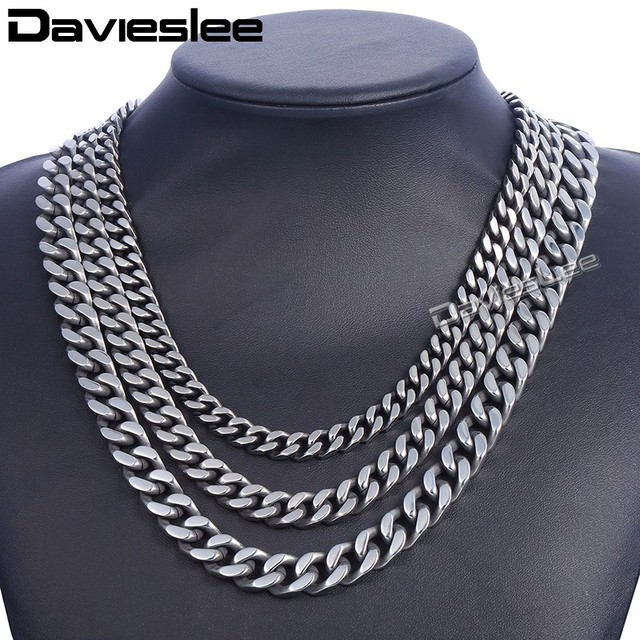 8a42573e85a Davieslee Men's Necklace Stainless Steel Chain for Men Gunmetal Curb Cuban  Link 8/10/12mm DKNM142