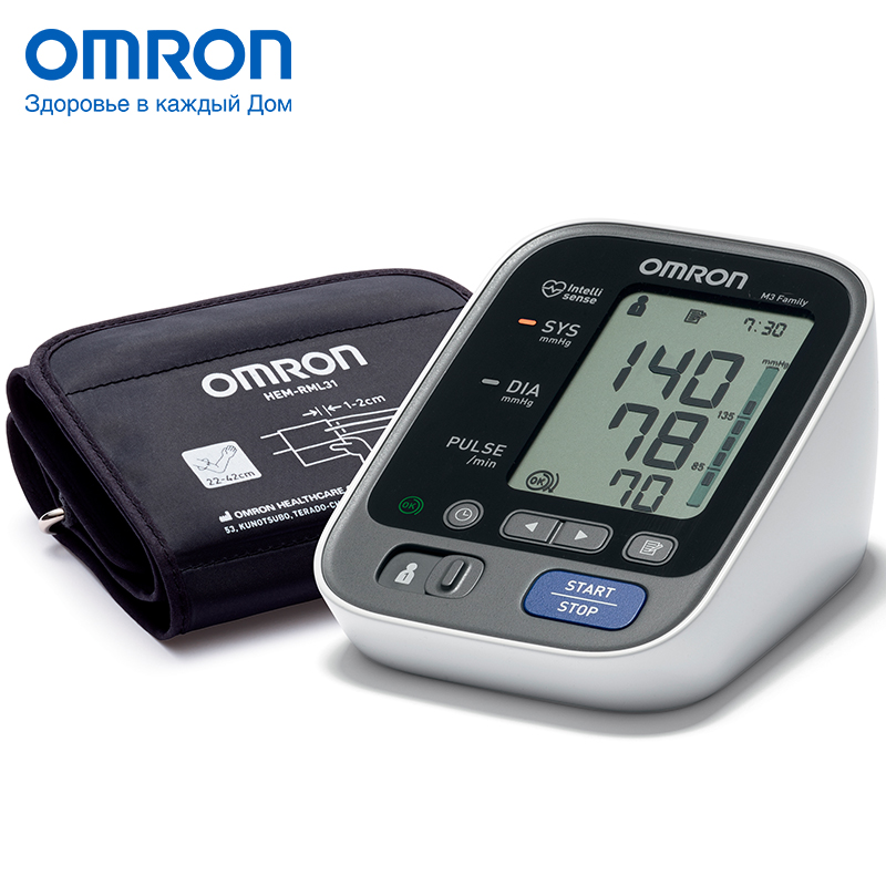 Omron M3 Family (HEM-7133-ALRU) Blood pressure monitor Home Health care Heart beat meter machine Tonometer Automatic Digital new 1pcs digital pressure control switch wpc 10 digital display eletronic pressure controller for water pump with adapter