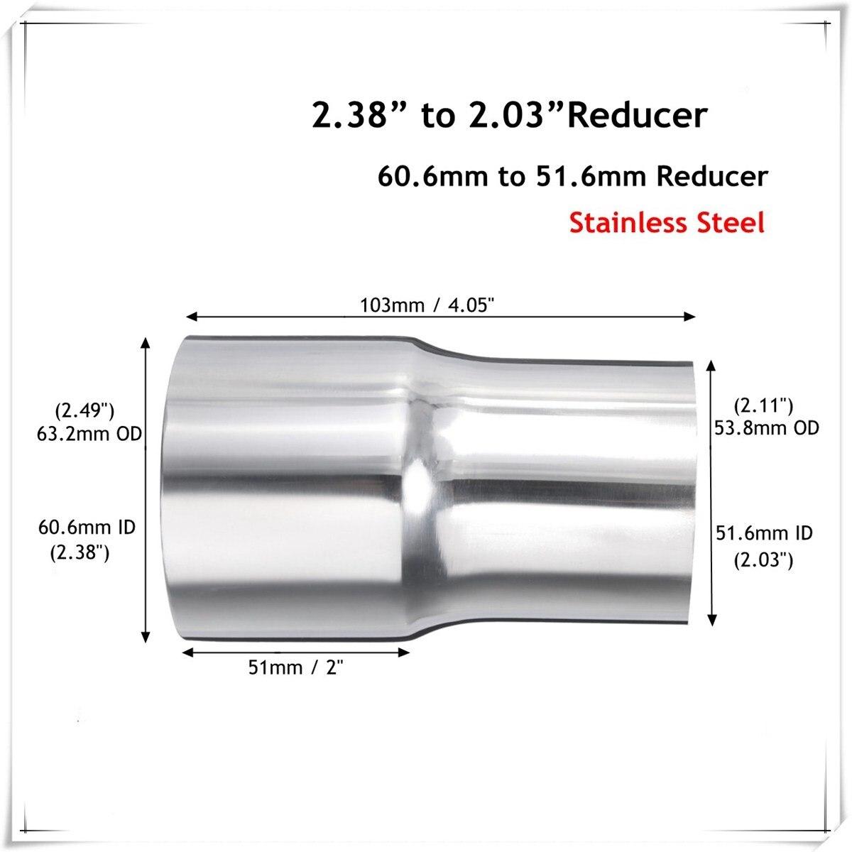 Tubo Posteriore di Scarico,Tubo di Scarico Marmitta Universale da 51 mm ,in acciaio inossidabile