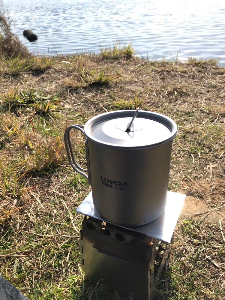 Lixada Ultralight Titanium Cup Mug 300/350/550/650ml Outdoor Water Cup Camping Picnic Water Mug Tableware with Foldable Handle