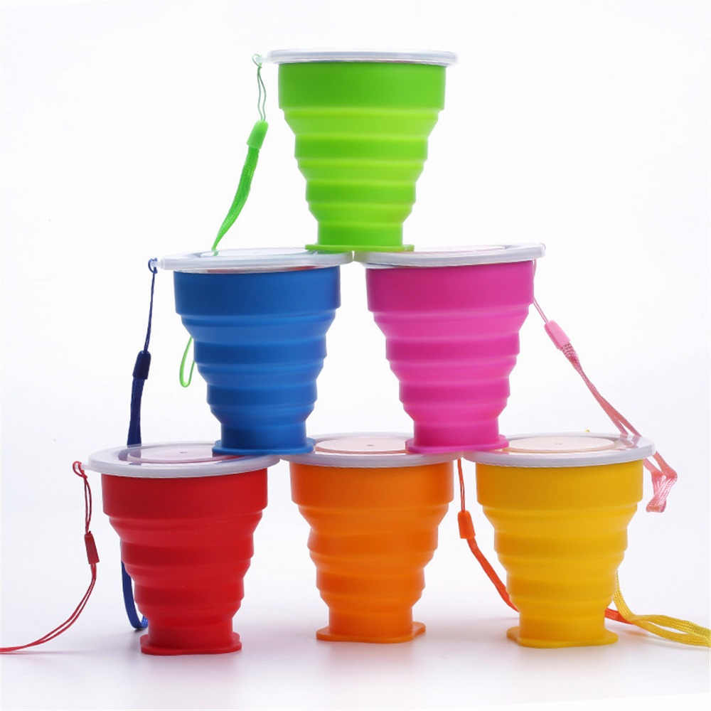 Travel Portable Folding Cup Silicone 300ML Telescopic Collapsible Coffee Tea Cups with Lid Tazas for Outdoor Sport Camping Cup