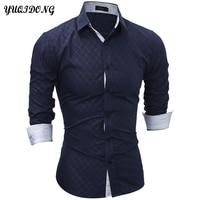 YUQIDONG Brand 2017 New Long Sleeve Men Shirts Plaid Shirts Male Casual Fashion Mens Shirts Slim