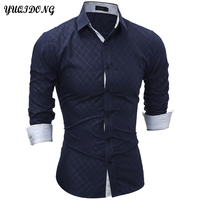 YUQIDONG Brand 2017 New Long Sleeve Men Shirts Plaid Shirts Male Casual Fashion Mens Shirts Slim