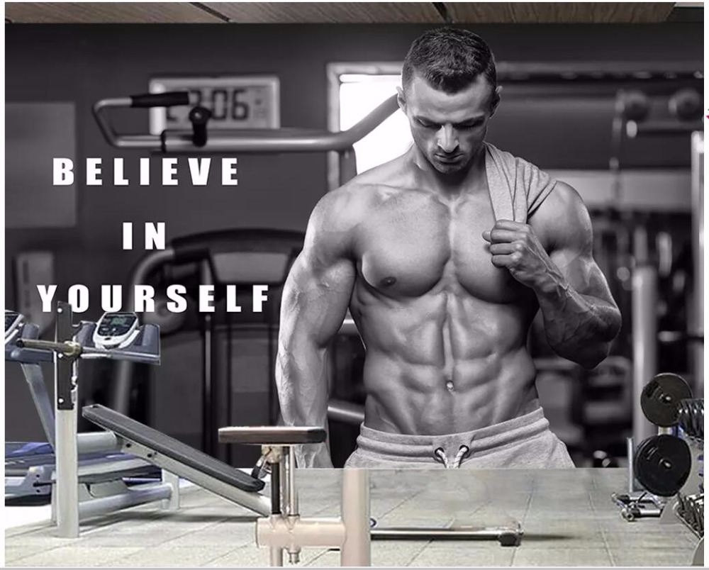 Us 1463 49 Offcustom Photo 3d Wallpaper Fitness Men And Women Muscles Exercise Wall Decor Living Room 3d Wall Murals Wallpaper For Walls 3 D In