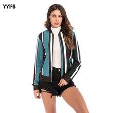Свободные куртки Новинка; для женщин осень Цвет соответствующие вертикальные полосы Бейсбол форменная куртка одежда с замком-молнией