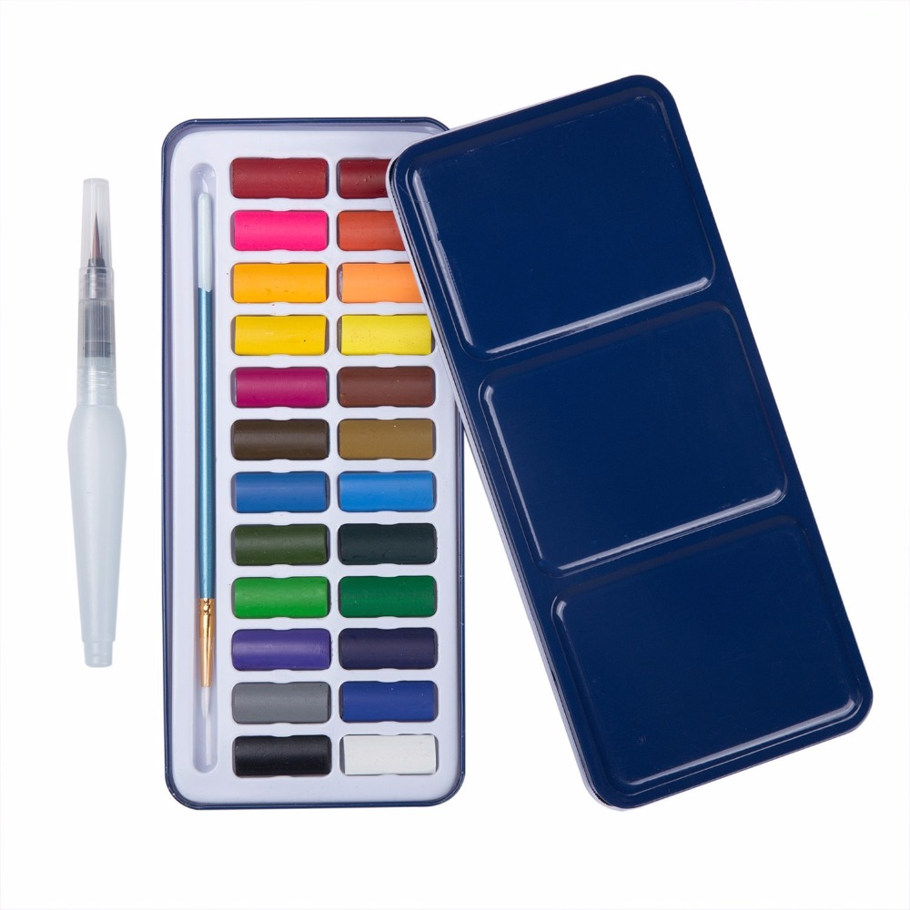 MEEDEN 24 Color Portable Watercolor Paint Set with Brush Pen & Water Brush Pen, Great for Kids Beginners Or Professional Artists