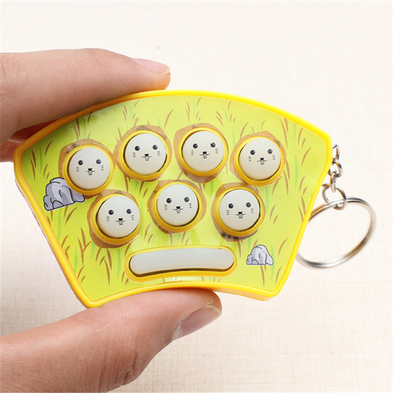Mini Whack-A-Mouse Mole Attack Game Key Chain Amusement Game Cute For Children Kids Colour Radom