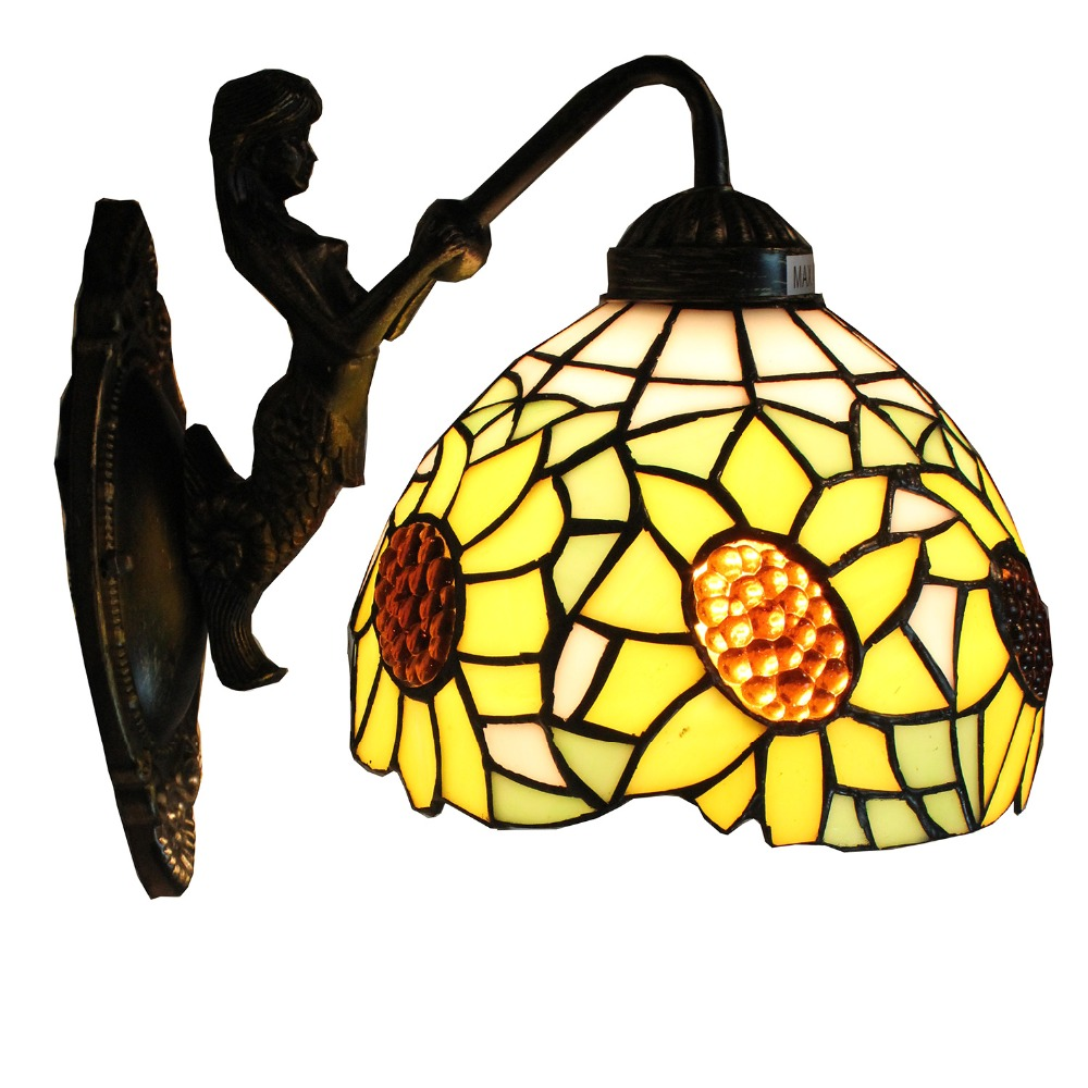 8 inch Stained Glass Sunflower Wall Sconce Mermaid Lamp Fixture Wall ...