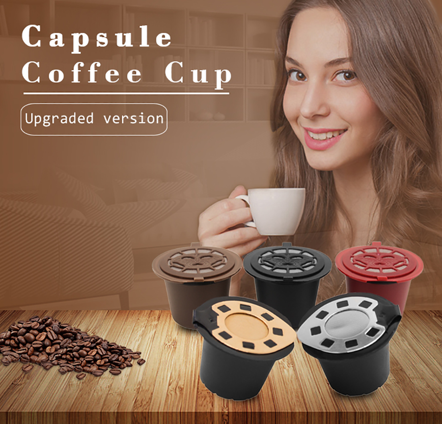 Reusable Nespre Gold Reusable Nespre coffee Capsules (2-pack) | Sesuai dengan Nespresso Essenza Refilterable, Inissia, Susu