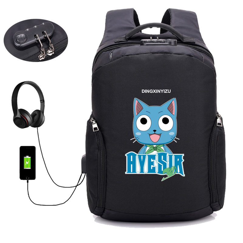 USB Charge Anti Theft Backpack Japan anime Fairy Tail Backpack School student Bags Men Women Travel