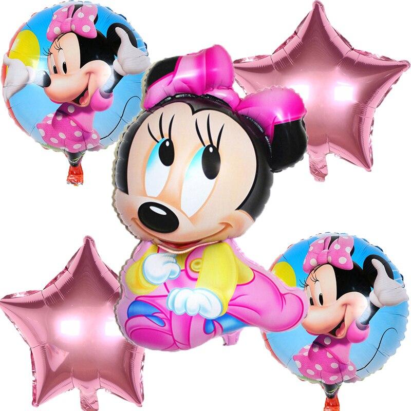 5pcs/set Cute Mickey & Minnie Star Heart Aluminum Film Balloons Birthday Wedding Decoration Childrens Toys Gifts Globos Midu Ballons & Accessories