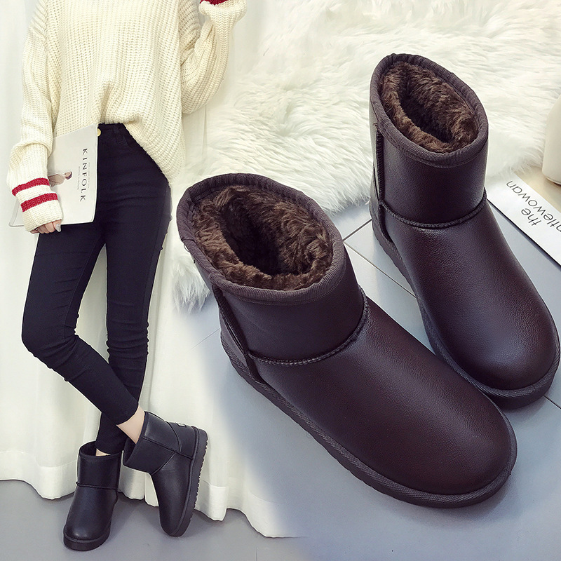 2017 winter new thick bottom non-slip waterproof short  boots plus cotton warm snow boots female skhek girls boy boots for kid snow botas winter warm plush baby boot waterproof soft bottom non slip leather booties kids shoes