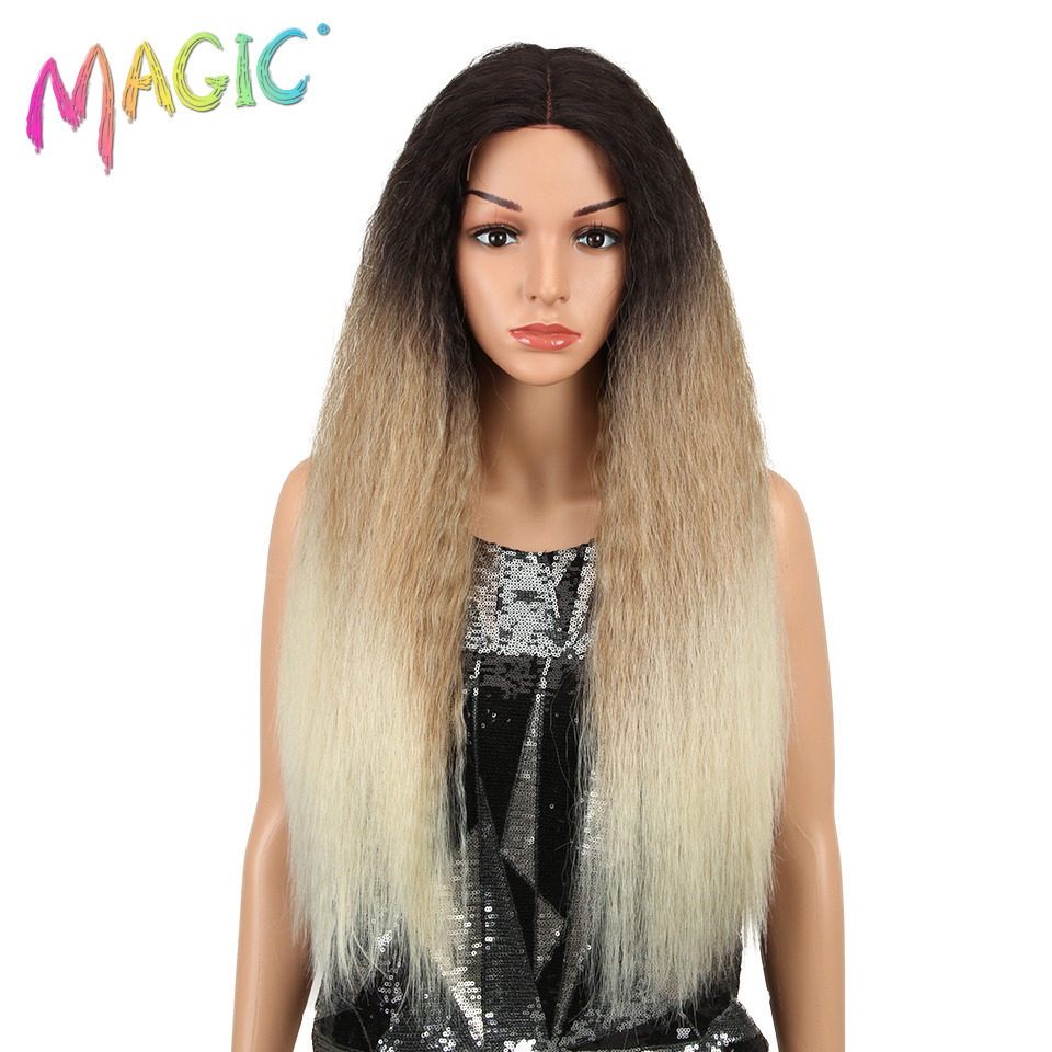 MAGIC Hair Synthetic Wig Lace Front Long Kaki Ombre Blonde 28 Inch American
