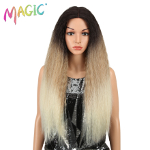 MAGIC Hair Synthetic Wig Lace Front Synthetic Wig Long Kaki Ombre Blonde Hair 28 Inch American Synthetic Lace Front Wig iwona synthetic hair lace front long straight blonde wig